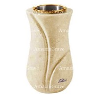 Flower vase Charme 20cm - 8in In Trani marble, golden steel inner