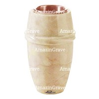 Flower vase Chordé 20cm - 8in In Botticino marble, copper inner
