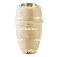 Flower vase Chordé 20cm - 8in In Botticino marble, golden steel inner