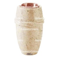Flower vase Chordé 20cm - 8in In Calizia marble, copper inner