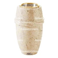 Flower vase Chordé 20cm - 8in In Calizia marble, golden steel inner