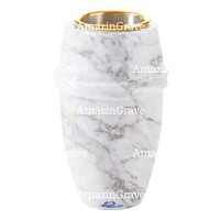 Flower vase Chordé 20cm - 8in In Carrara marble, golden steel inner