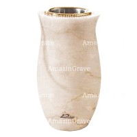 Flower vase Gondola 20cm - 8in In Botticino marble, golden steel inner