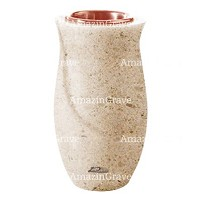 Flower vase Gondola 20cm - 8in In Calizia marble, copper inner