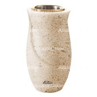 Flower vase Gondola 20cm - 8in In Calizia marble, golden steel inner