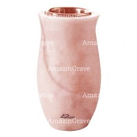 Flower vase Gondola 20cm - 8in In Pink Portugal marble, copper inner