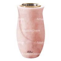 Flower vase Gondola 20cm - 8in In Pink Portugal marble, golden steel inner