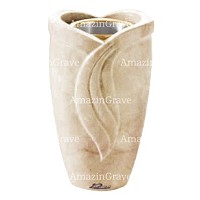 Flower vase Gres 20cm - 8in In Botticino marble, golden steel inner