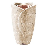 Flower vase Gres 20cm - 8in In Calizia marble, copper inner