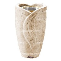Flower vase Gres 20cm - 8in In Calizia marble, golden steel inner