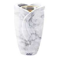 Flower vase Gres 20cm - 8in In Carrara marble, golden steel inner