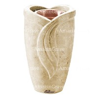 Flower vase Gres 20cm - 8in In Trani marble, copper inner