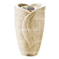 Flower vase Gres 20cm - 8in In Trani marble, golden steel inner