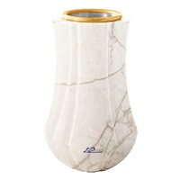 Flower vase Leggiadra 20cm - 8in In Carrara marble, golden steel inner