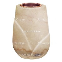 Flower vase Liberti 20cm - 8in In Botticino marble, copper inner