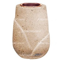 Flower vase Liberti 20cm - 8in In Calizia marble, copper inner