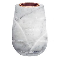 Flower vase Liberti 20cm - 8in In Carrara marble, copper inner