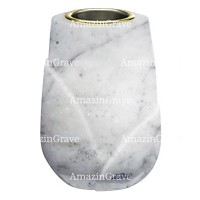 Flower vase Liberti 20cm - 8in In Carrara marble, golden steel inner