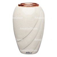 Flower vase Soave 20cm - 8in In Pure white marble, copper inner