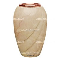 Flower vase Soave 20cm - 8in In Botticino marble, copper inner