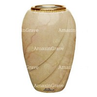 Flower vase Soave 20cm - 8in In Botticino marble, golden steel inner