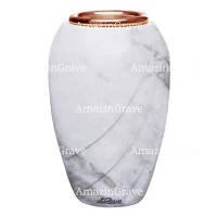 Flower vase Soave 20cm - 8in In Carrara marble, copper inner
