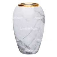 Flower vase Soave 20cm - 8in In Carrara marble, golden steel inner
