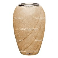 Flower vase Soave 20cm - 8in In Travertino marble, steel inner