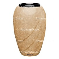 Flower vase Soave 20cm - 8in In Travertino marble, plastic inner