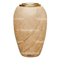 Flower vase Soave 20cm - 8in In Travertino marble, golden steel inner