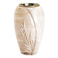 Flower vase Spiga 20cm - 8in In Botticino marble, golden steel inner