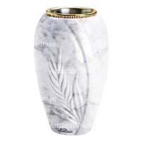 Flower vase Spiga 20cm - 8in In Carrara marble, golden steel inner