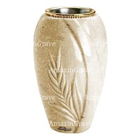 Flower vase Spiga 20cm - 8in In Trani marble, golden steel inner