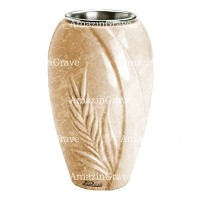 Flower vase Spiga 20cm - 8in In Travertino marble, steel inner