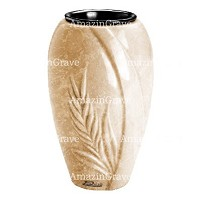 Flower vase Spiga 20cm - 8in In Travertino marble, plastic inner