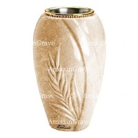 Flower vase Spiga 20cm - 8in In Travertino marble, golden steel inner