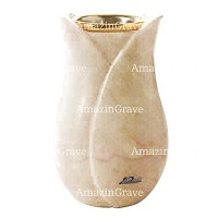 Flower vase Tulipano 20cm - 8in In Botticino marble, golden steel inner