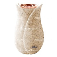 Flower vase Tulipano 20cm - 8in In Calizia marble, copper inner