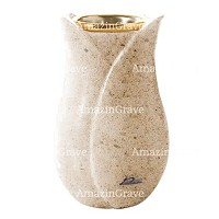 Flower vase Tulipano 20cm - 8in In Calizia marble, golden steel inner