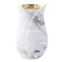 Flower vase Tulipano 20cm - 8in In Carrara marble, golden steel inner