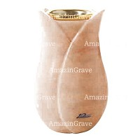Flower vase Tulipano 20cm - 8in Pink Portugal marble, golden steel inner